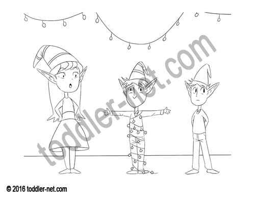 Image of the Christmas Elves coloring page