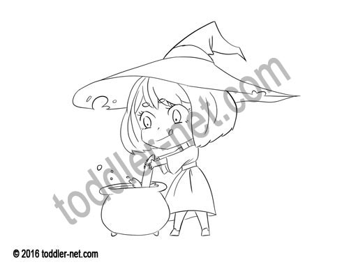 Image of the Little Witch coloring page