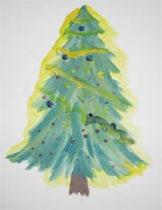 Painting Decorated Christmas Tree