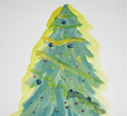 Decorated Christmas Tree Painting