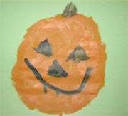 Child's painting of a pumpkin