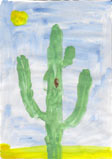 kid's painting of saguaro cactus