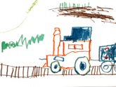 Child's drawing of a train