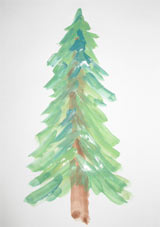 child's painting of a Christmas tree