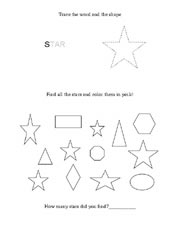 worksheet shape star