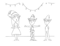 Christmas coloring page - Santa's Elves