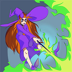 Halloween activity for children: Witch coloring page