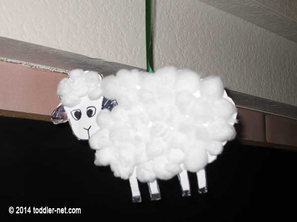 cotton ball sheep ornament