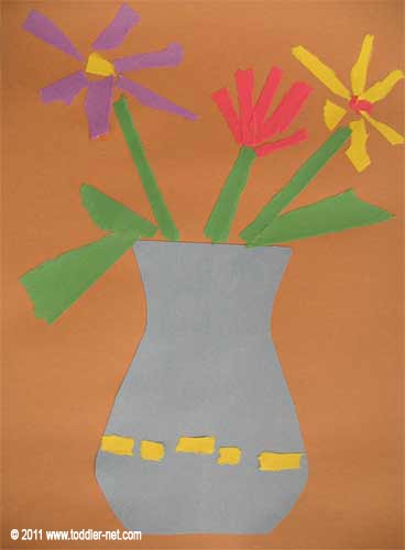 Kids Art Collage Vase With Flowers