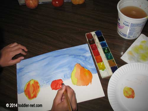 painting fruits and veggies
