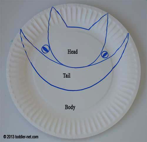 paper plate for making cat & Kids Halloween Craft - Paper Plate Cat
