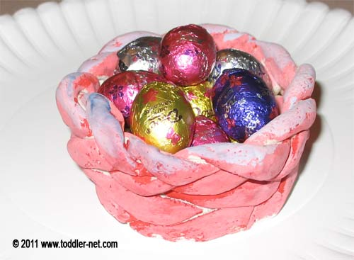 Play dough Easter basket with chocolate eggs