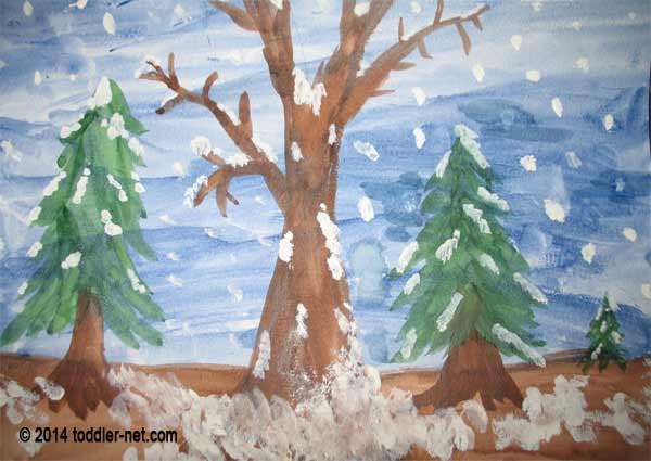 finished winter forest painting