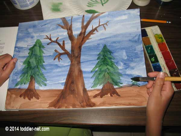 painting trees in the forest