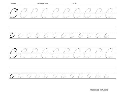 Number Names Worksheets worksheets for letter c : Tracing worksheet: Cursive letter C