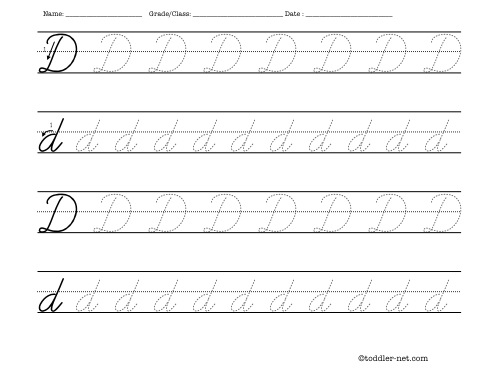 Number Names Worksheets free printable cursive letters worksheets : Tracing worksheet: Cursive letter D