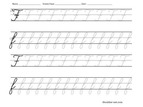 Number Names Worksheets free printable cursive letters worksheets : Tracing worksheet: Cursive letter F