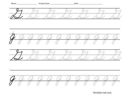 Number Names Worksheets free printable cursive letters worksheets : Tracing worksheet: Cursive letter G