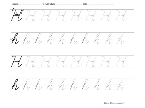 Tracing Worksheets for Cursive Letters