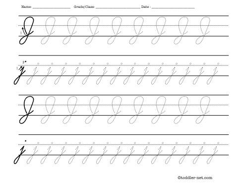 Number Names Worksheets free printable cursive letters worksheets : Tracing worksheet: Cursive letter J