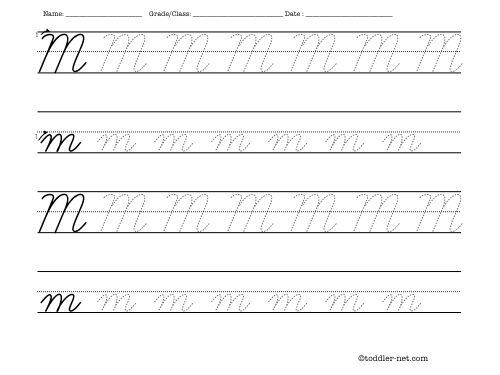 Free Printable Cursive Letter M Worksheet