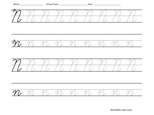 Number Names Worksheets » Letter N Writing Practice - Free ...