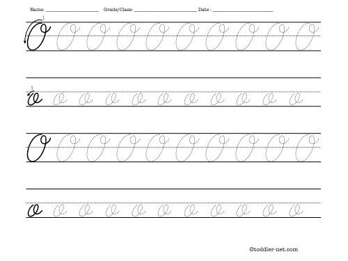 tracing worksheet cursive letter o. Black Bedroom Furniture Sets. Home Design Ideas