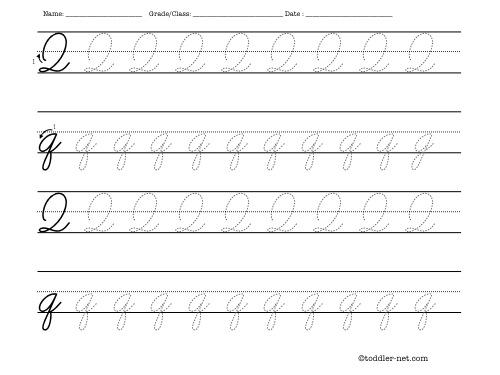Number Names Worksheets free printable cursive letters worksheets : Tracing worksheet: Cursive letter Q