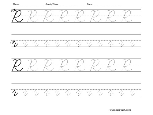Free Printable Cursive Letter R Worksheet