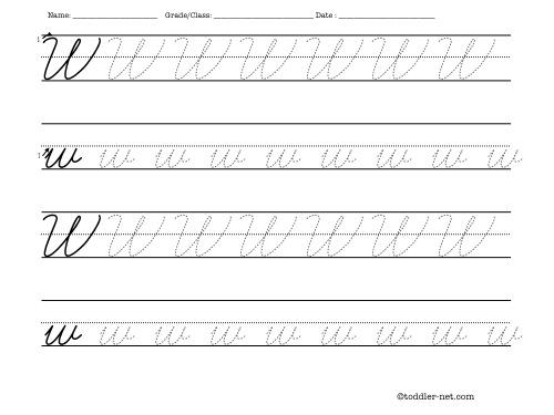 Tracing worksheet: Cursive letter W