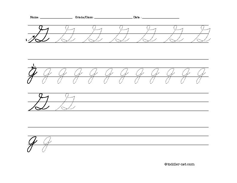 picture about Letter G Printable identified as Cost-free Printable Cursive Letter G Worksheet