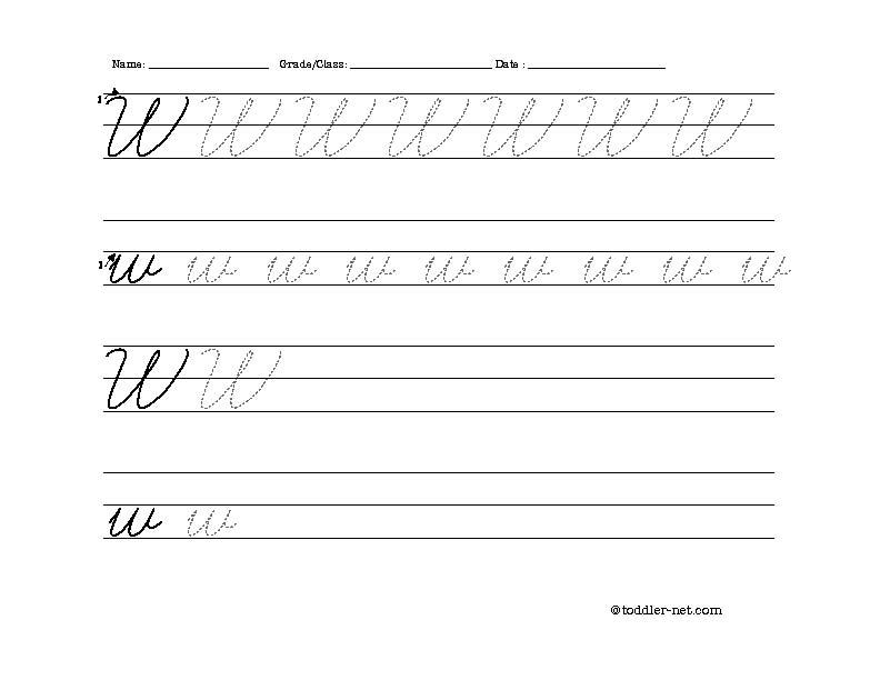 Free Printable Cursive Letter W Worksheet