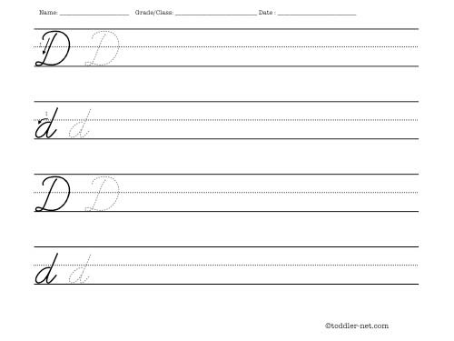 Number Names Worksheets practice letter writing worksheets : Cursive letter D worksheet