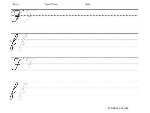 Cursive letter F worksheet