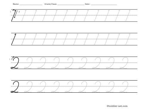 Tracing Worksheet Cursive Numbers 1 And 2