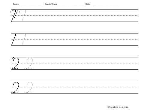 cursive numbers 1 and 2 handwriting worksheet