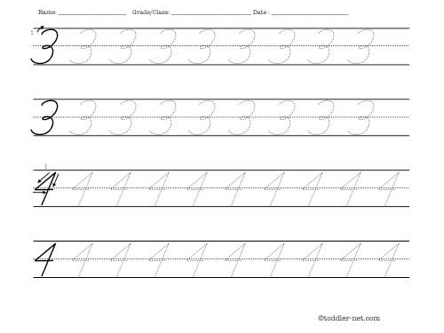 Tracing Worksheet Cursive Numbers 3 And 4