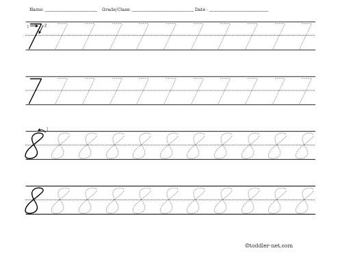 Tracing worksheet: cursive numbers 7 and 8