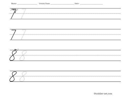 cursive numbers 7 and 8 handwriting worksheet. Black Bedroom Furniture Sets. Home Design Ideas