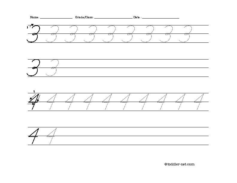 Free Printable Cursive Numbers 3 and 4 Worksheet