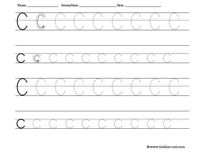 Free Tracing Letter C Worksheet