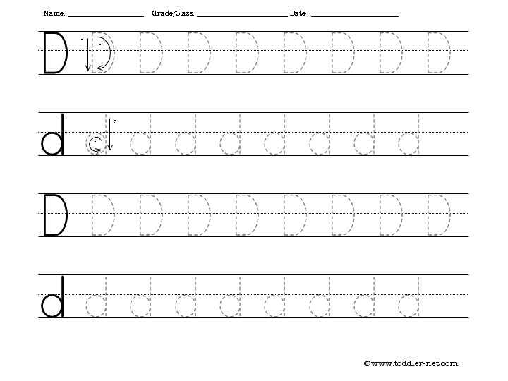 Free Tracing Letter D Worksheet