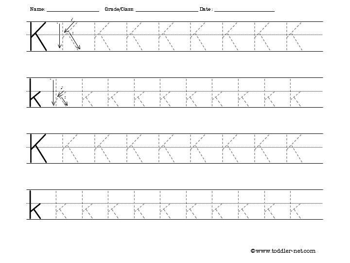 Free Tracing Letter K Worksheet