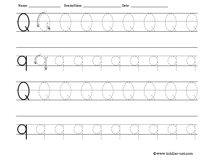 Free Tracing Letter Q Worksheet
