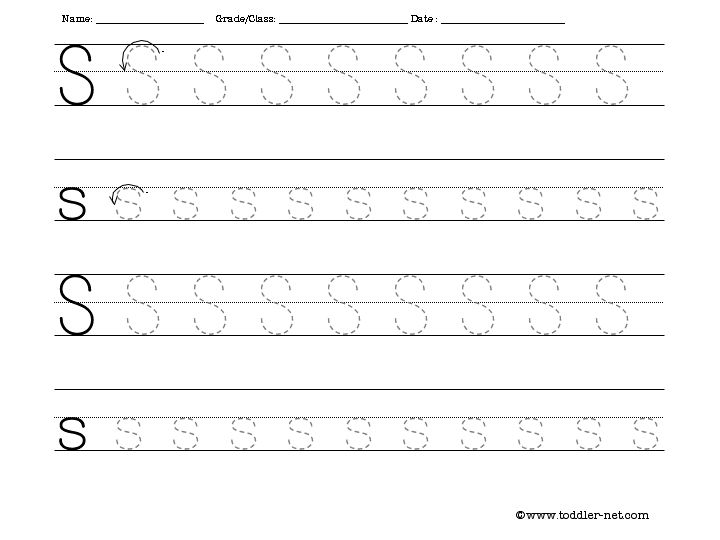 Free Tracing Letter S Worksheet