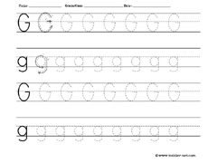 letter G tracing worksheet