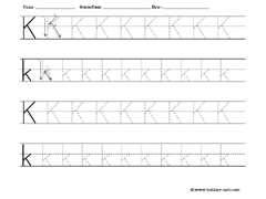 letter K tracing worksheet