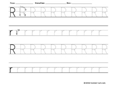 letter R tracing worksheet