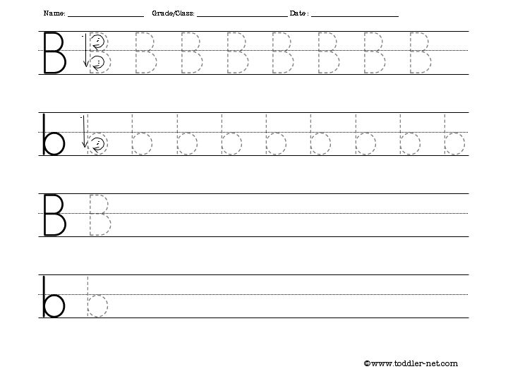 Number Names Worksheets free letter writing worksheets : The Letter B Handwriting Worksheets - Intrepidpath
