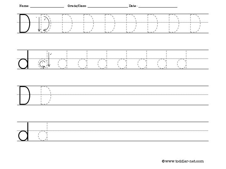 Letter D Writing Worksheet
